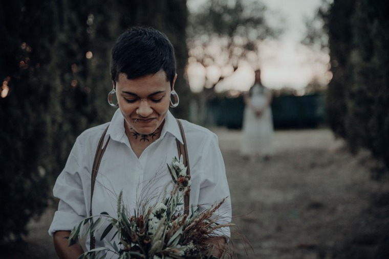 bride to be eloping in tuscany