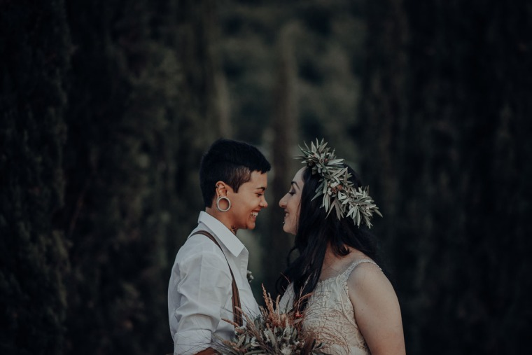 couple laughing before elopement ceremony
